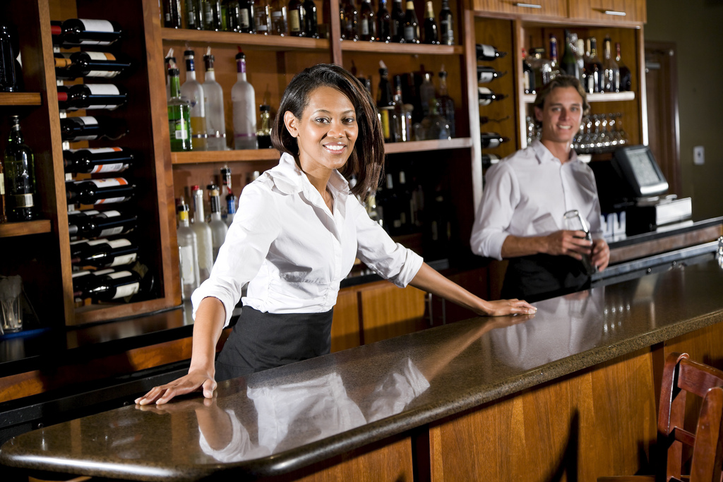 ZWSP1283-Waitress-and-waiter-behind-restaurant-bar_10381254626_l