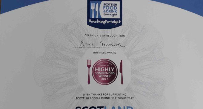 Bruce Stevenson Insurance Awarded Scottish Food & Drink Fortnight Accolade