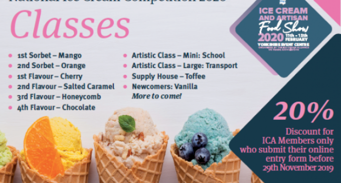 National Ice Cream Competition 2020 Closes TODAY For Entries